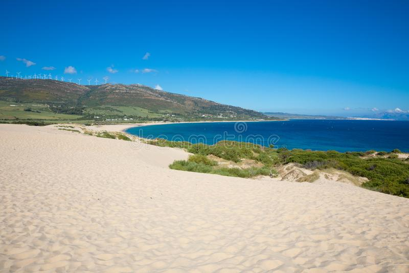 Coastline of Valdevaqueros Beach and Tarifa from the top of dune royalty free stock photography