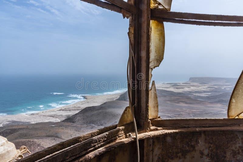 Coastline view Morro Negro lighthouse Cape Verde stock photography