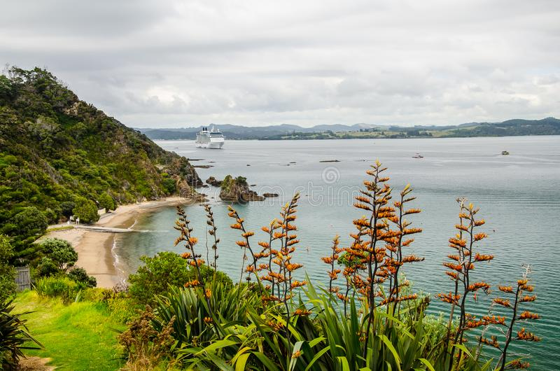 Coastline view from Tapeka Point Track with blue sky above in Russell, Northland, New Zealand.  stock photography