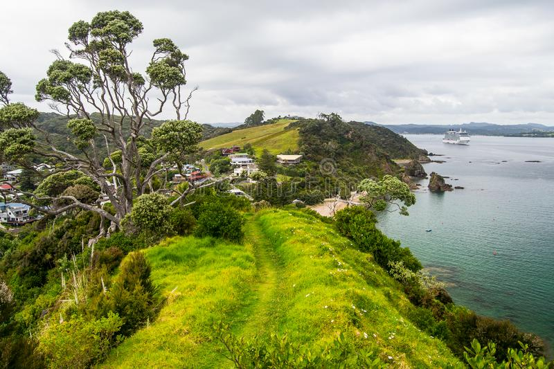Coastline view from Tapeka Point Track with blue sky above in Russell, Northland, New Zealand.  royalty free stock images