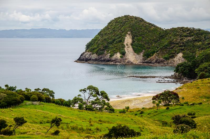 Coastline view from Te Whara Track with blue sky above in Whangarei Heads, Northland, New Zealand.  royalty free stock photos