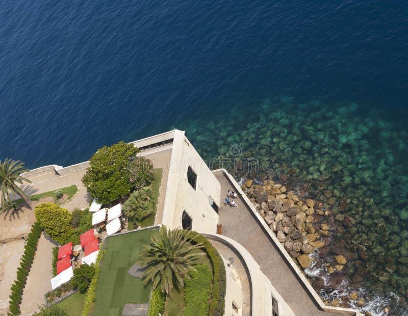 Coastline view from top of Monaco Aquarium stock image