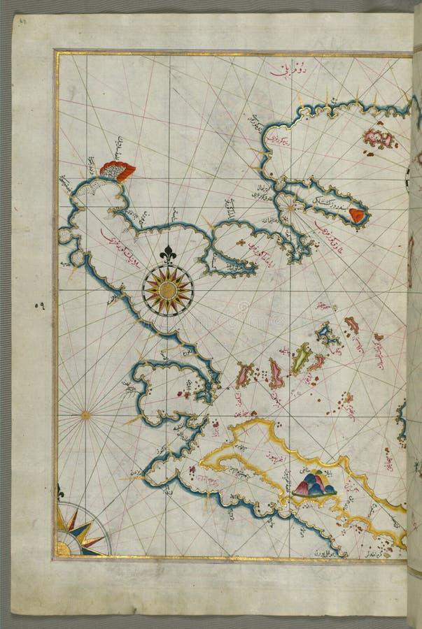 The coastline of the western Aegean Sea as far south as the Island of Euboea (Evvoia, Aghrībūz, Eğriboz), from Book o royalty free stock images