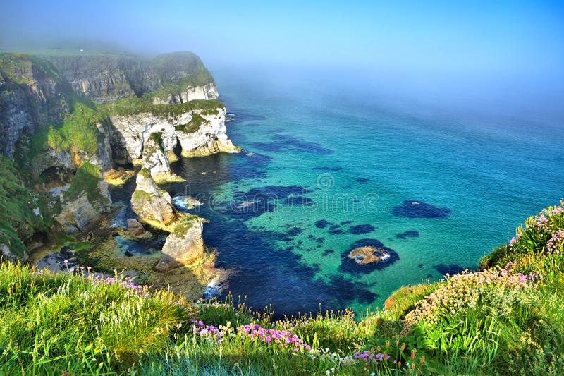Coastline of white cliffs, Magheracross viewpoint, Causeway Coast, Northern Ireland royalty free stock photo