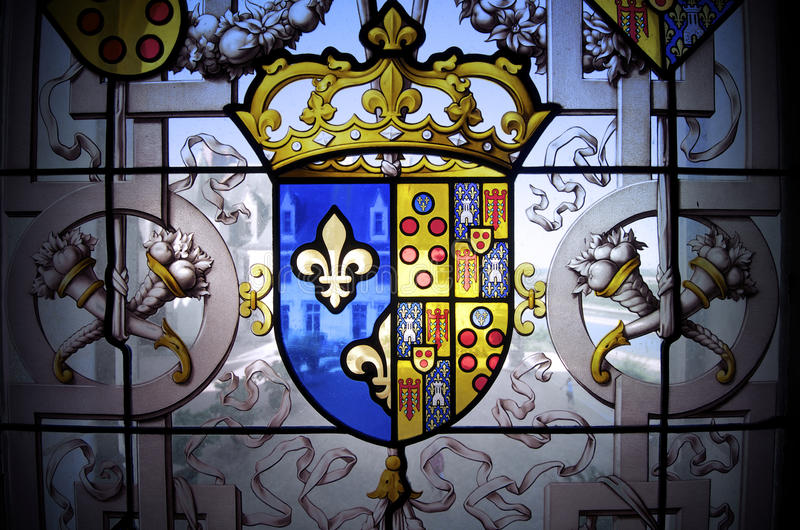 Coat of arms. Closeup of a coat of arms in a window of the castle of Chaumont Sur Loire, Loire Valley, France royalty free stock images