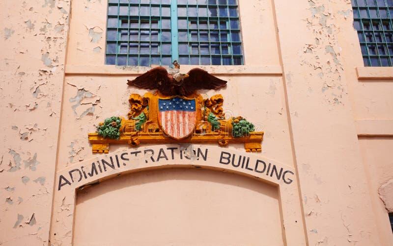 Coat of arms on Alcatraz prison. Administration building sign in Alcatraz prison California USA royalty free stock photo