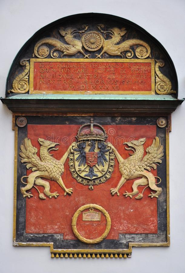 Coat of arms austria. Royal coat of arms at Hofburg in Vienna, Austria stock photo