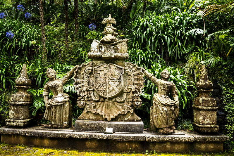 Coat of Arms in a Beautiful Garden at Monte above Funchal Madeira. This wonderful garden is at the top of the cablecar from the seafront in Funchal. It is filled stock photos