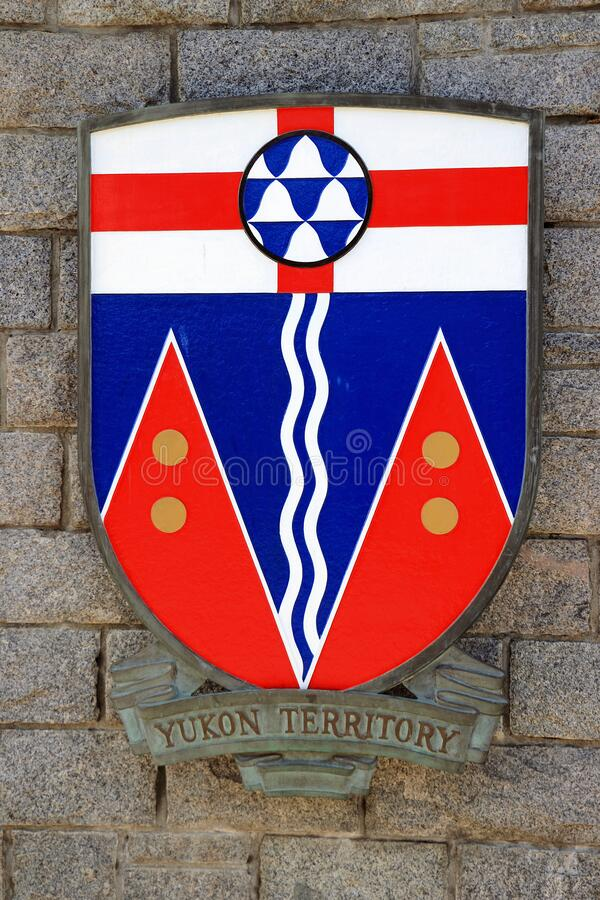 Yukon Territory Coat of Arms, Confederation Square, Victoria, Vancouver Island, British Columbia, Canada. Coat of Arms for the Canadian Yukon Territory at stock photos