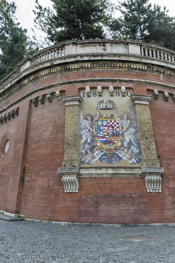 Coat of arms on Castle Hill wall in Budapest, Hungary. stock photos