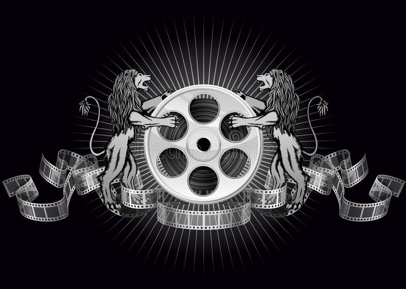 Coat of arms cinema. Film reel with lions and ribbons stock illustration