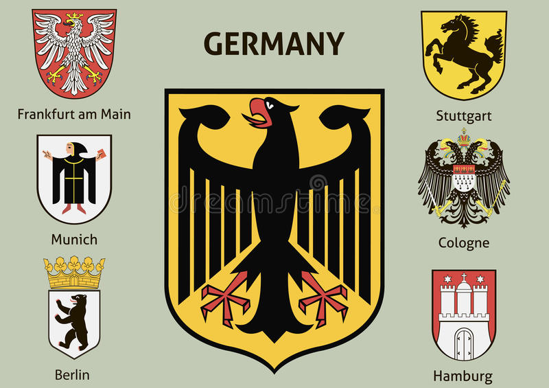 Coat of arms. Cities in Germany vector illustration
