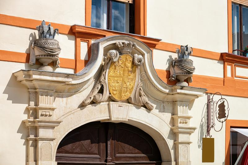 Coat of arms of Draskovic Palace in Varazdin in Croatia. Coat of arms of Draskovic Palace in Street in Old city of Varazdin in Croatia. Heraldic Symbol of famous stock image