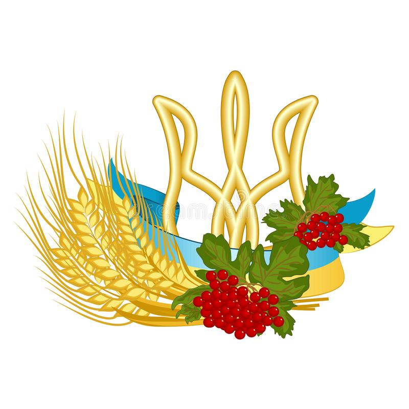 Coat of arms, flag, viburnum, and wheat - vector clipart of Ukrainian national symbols. State and folk signs of Ukraine are golden stock illustration