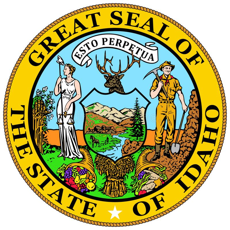 Coat of arms of Idaho state in USA. Coat of arms of Idaho is a state in the northwestern region of the United States. Vector illustrator vector illustration