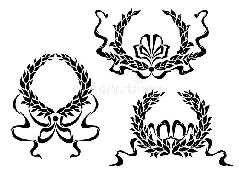 Coat Of Arms With Laurel Leaves And Ribbons Royalty Free Stock Photo