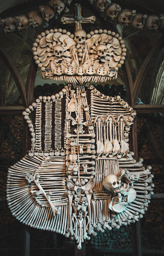 Coat of arms made with natural human bones. Kutna Hora. Czeh Republic. royalty free stock images