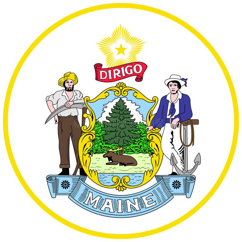 Coat of arms of Maine state of USA royalty free stock photo