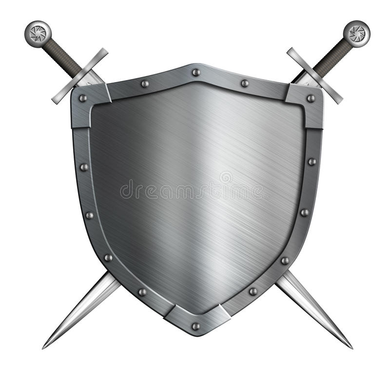 Coat of arms medieval knight shield and crossed. Coat of arms medieval knight shield and swords isolated on white stock photography