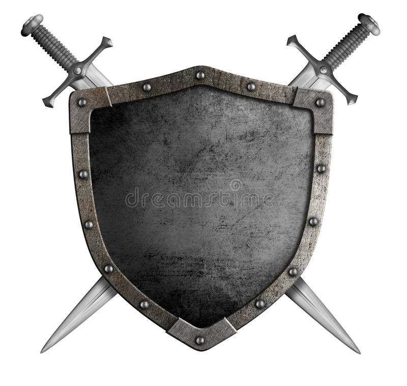 Coat of arms medieval knight shield and sword. Isolated on white stock images