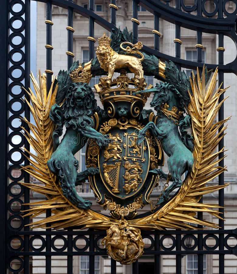 Coat of Arms, Queen, Buckingham Palace, London, England royalty free stock image