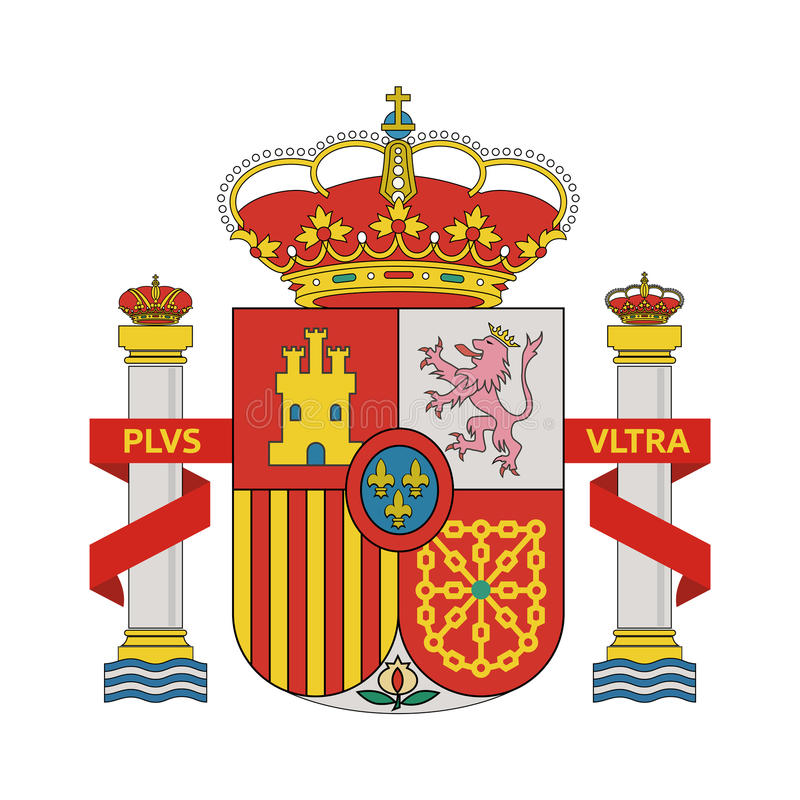 Coat of Arms of Spain. On white background - Vector Illustration stock illustration
