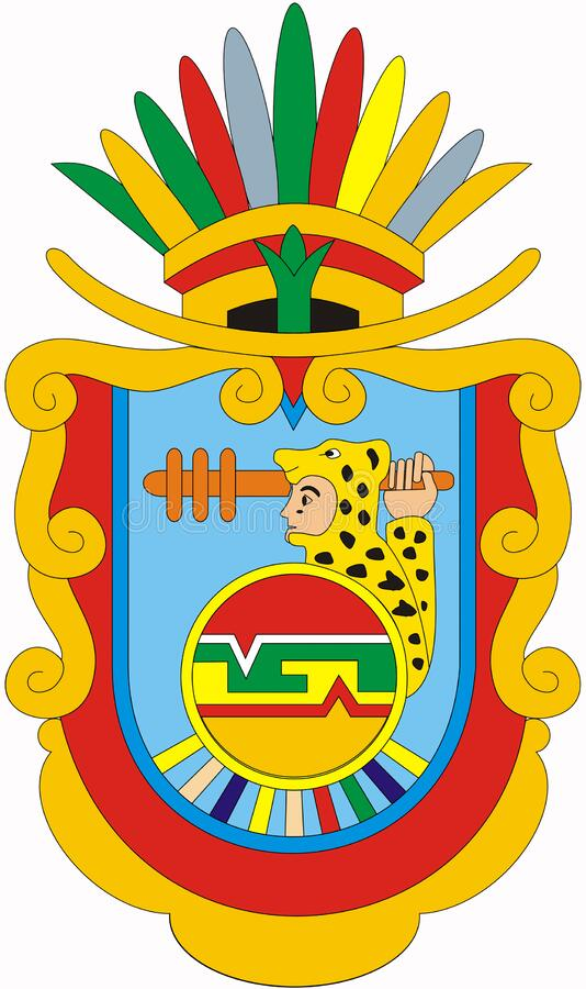 Coat of arms of the state of Guerrero. Mexico. Isolated on white background royalty free illustration
