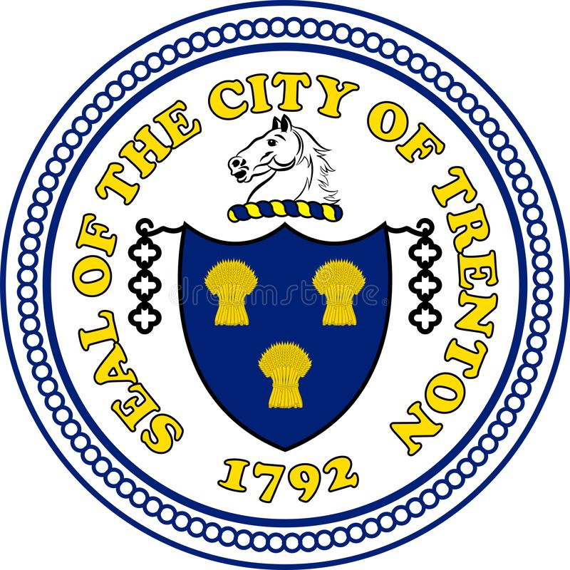 Coat of arms of Trenton in California, United States. Coat of arms of Trenton is the capital city of the U.S. state of New Jersey and the county seat of Mercer royalty free illustration