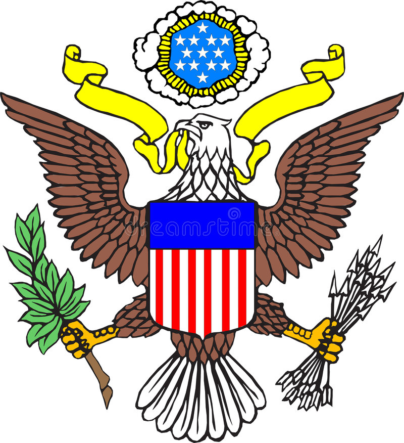 Coat of arms of USA. The illustration US Emblem - eagle over the white background