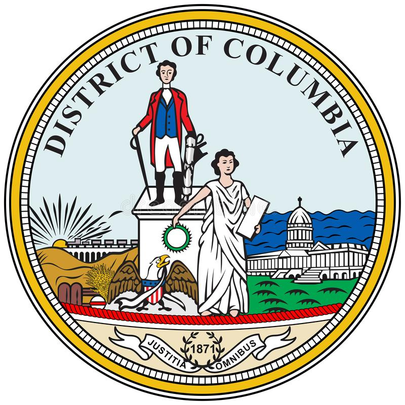 Coat of arms of Washington, D.C. the District of Columbia of USA royalty free stock photos