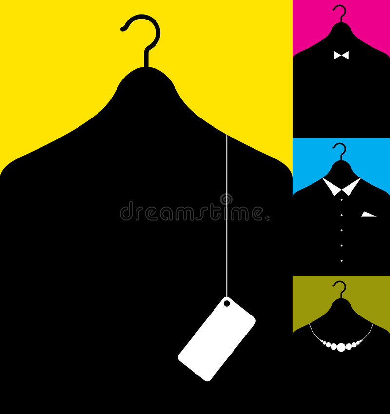 Coat-hanger with clothes. Vector illustration af coat-hanger with clothes silhouettes