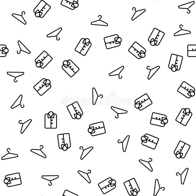 Coat Hanger And Shirt Seamless Pattern Vector stock illustration