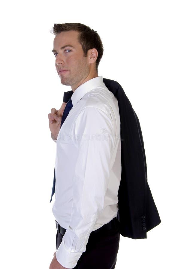 coat hans posera för man arkivfoto
