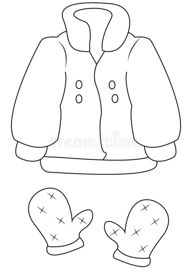 Coat And Mittens Coloring Page Stock Illustration - Illustration of ...
