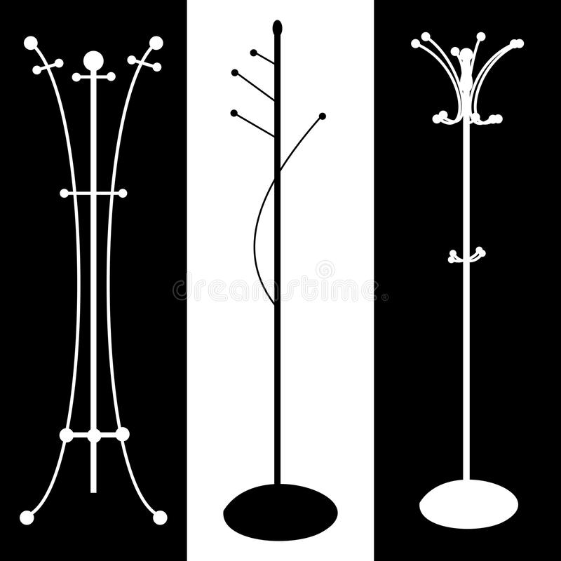 Coat rack black and white silhouette vector illustration. Floor. Hanger, coat hanger, coat stand royalty free illustration