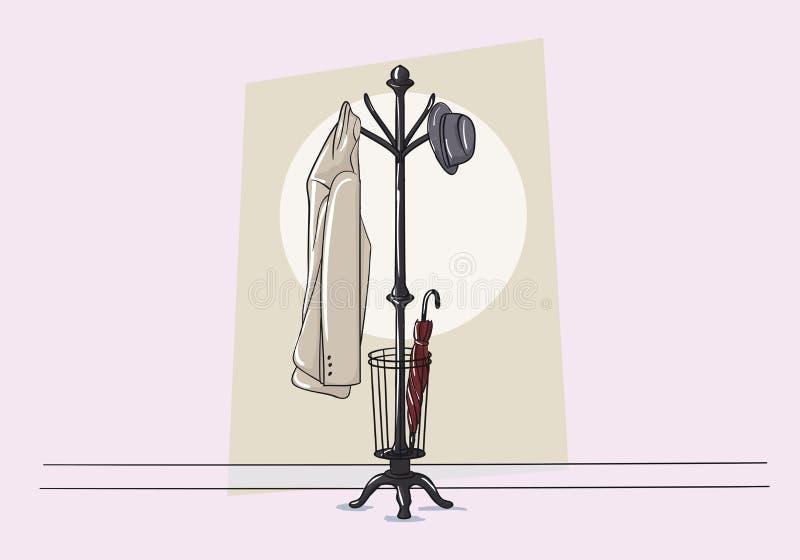 Coat Stand Vector. Coat, hat, umbrella vector illustration