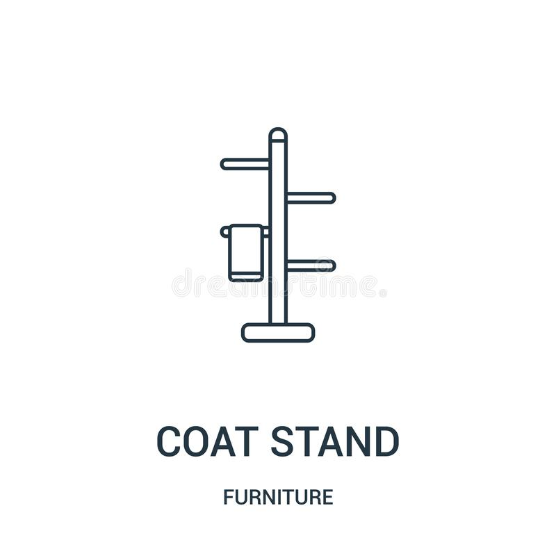 coat stand icon vector from furniture collection. Thin line coat stand outline icon vector illustration. Linear symbol for use on stock illustration