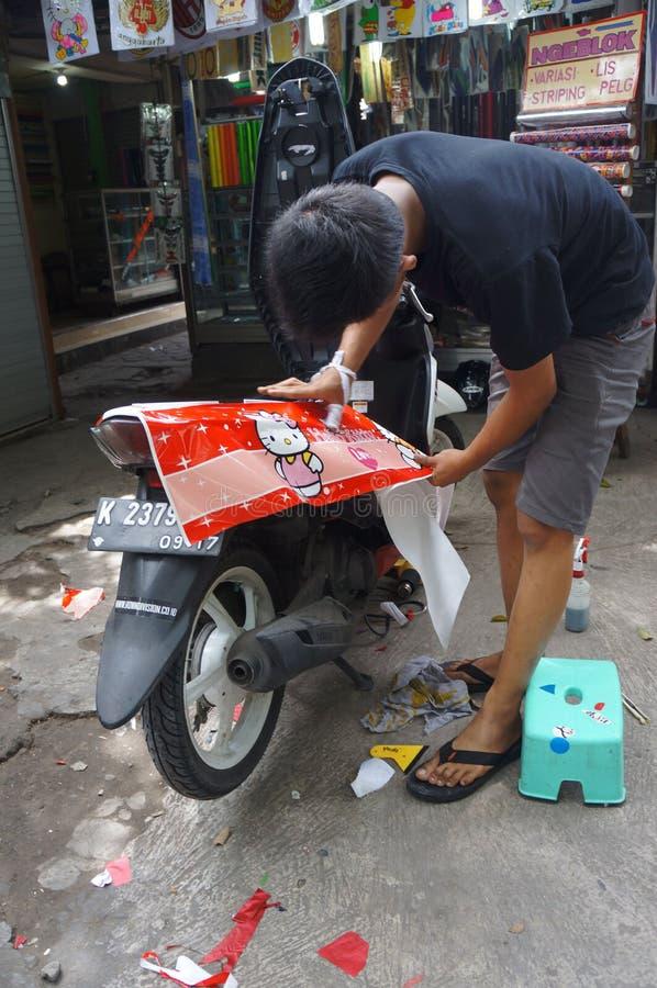 Coating motorcycle royalty free stock photography