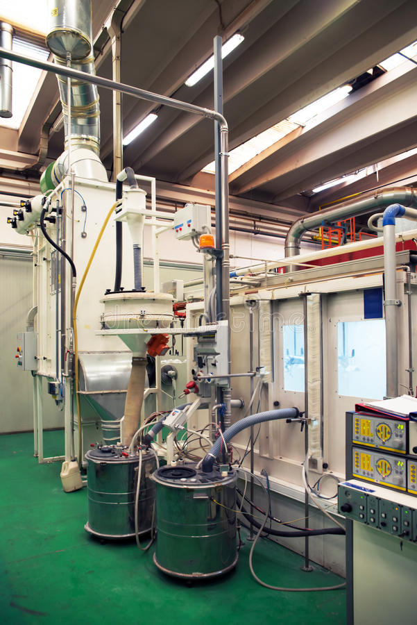Coating plant. In a factory that produces components for automotive stock photo