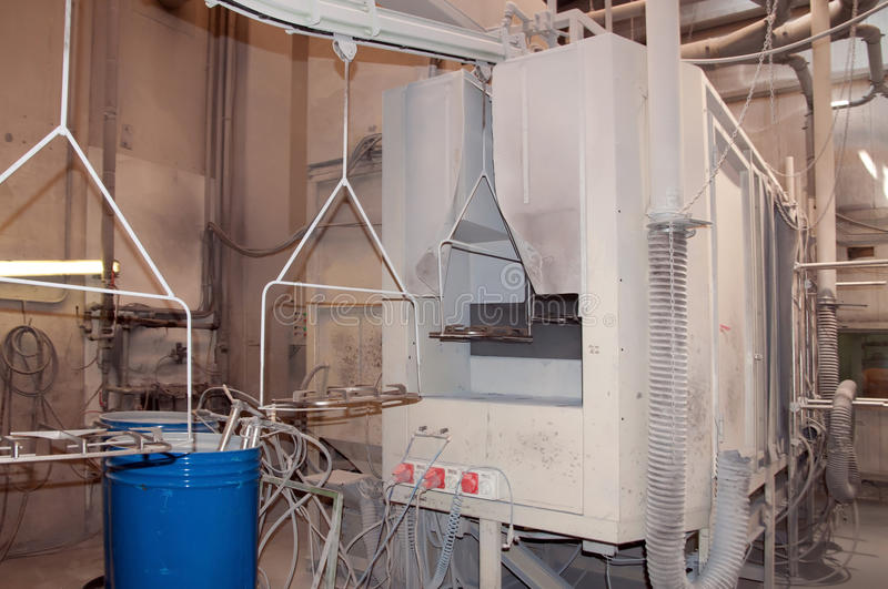 Coating plant. In a factory that produces components for automotive stock image