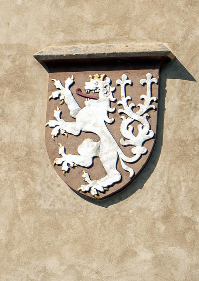 Coats of arms of Bohemia, Old Town Hall, Prague Czech republic royalty free stock image