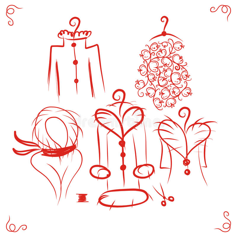 Coats on hangers, sketch for your design stock illustration