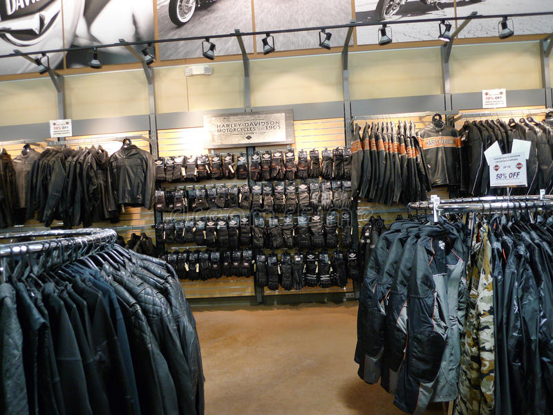 Coats, jackets and gloves at Black Hills Harley Davidson, Rapid City, South Dakota royalty free stock images
