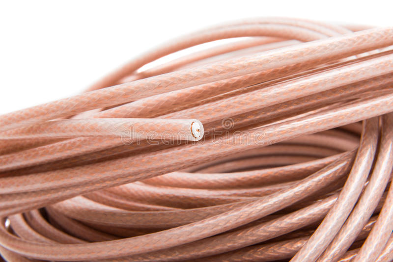 Coaxial cable. On white background royalty free stock photo