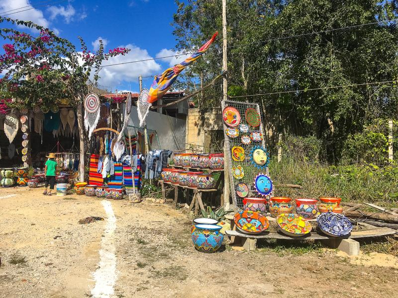 The local colorful tourist shop selling traditional mexican souvenirs.Coba, Mexico royalty free stock photo