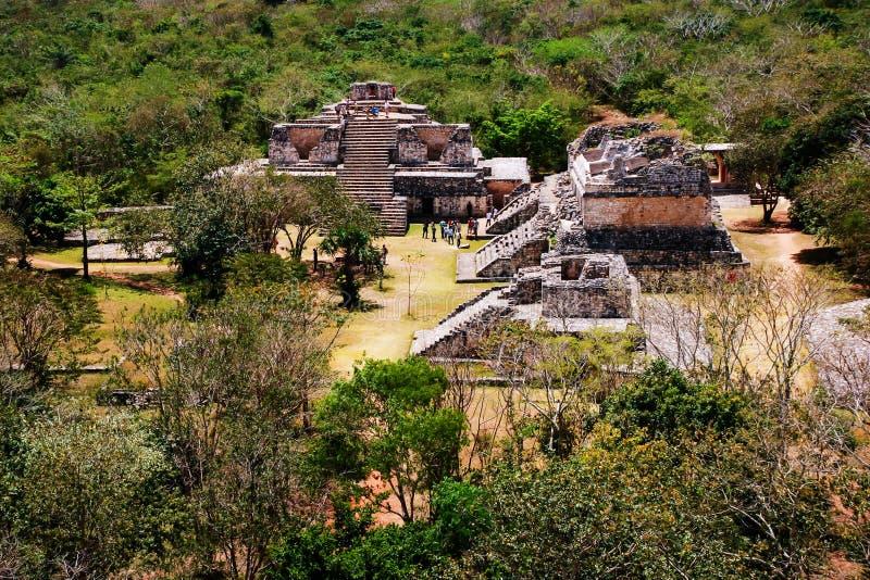 Coba Mexico Flyg- sikt av den forntida mayan staden i Mexico royaltyfri fotografi