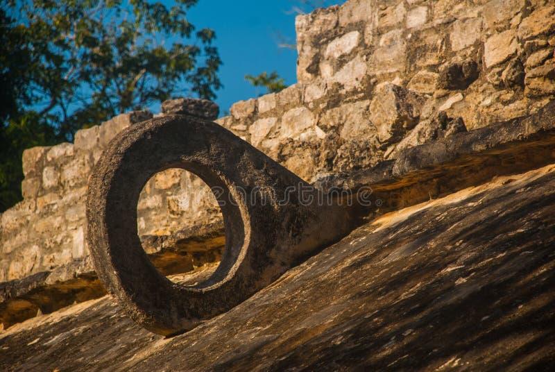 Coba, Mexique Sur les murs il y a des anneaux en pierre, en lesquels les athlètes maya ont jeté la boule avec leurs hanches image libre de droits