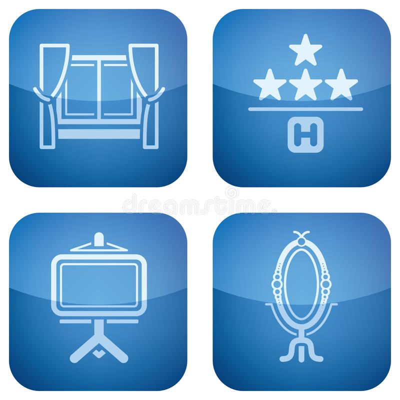 Download Cobalt 2D Squared Icons Set: Hotel Stock Vector - Image: 14124505