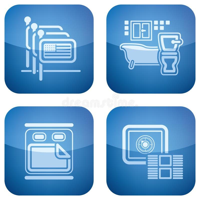 Download Cobalt 2D Squared Icons Set: Hotel Stock Vector - Illustration of symbol, white: 14126022