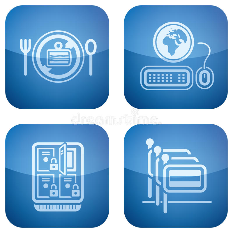 Cobalt 2D Squared Icons Set: Hotel Royalty Free Stock Photography
